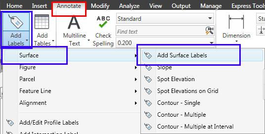 از تب Annotate مطابق شکل Add Surface Labels را پیدا کنید.