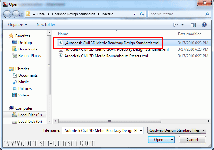 مطابق شکل فایل XML مشخص شده را انتخاب کنید و روی Open کلیک کنید.
