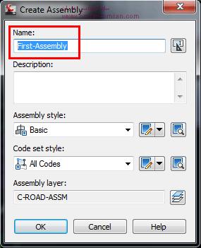 در پنجره ی باز شده، در قسمت Name مشابه شکل یک اسم برای Assembly تایپ کنید. برای مثال : First-Assembly
