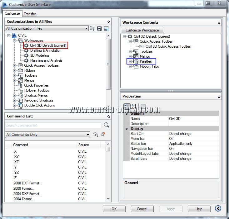 customize user interface - workspace