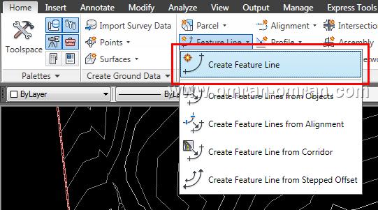 از ریبون و از تب Home، روی Create Feature Line کلیک کنید.