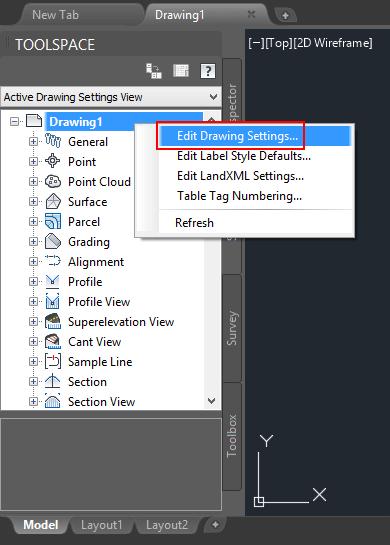 تنظیمات اصلی فایل در Civil3D
