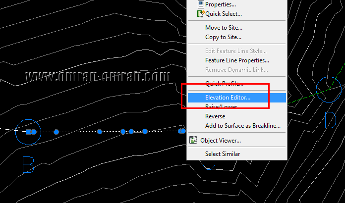 خط BC را انتخاب کنید. روی آن کلیک راست کرده و Elevation Editor را انتخاب کنید.