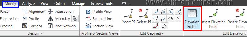 از تب Modify روی Elevation Editor کلیک کنید.