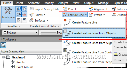 از ریبون Create Feature Lines From Objects را پیدا کرده و روی آن کلیک کنید.