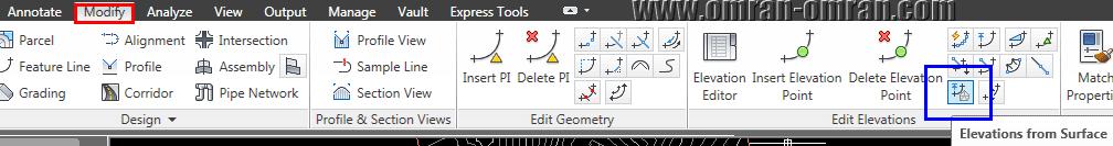 روی Elevations from Surface از تب Modify کلیک کنید.