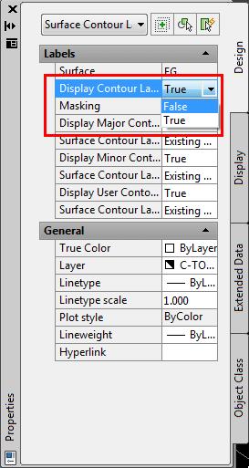 مشخصه ی Display Contour Label Line را به False تغییر دهید.