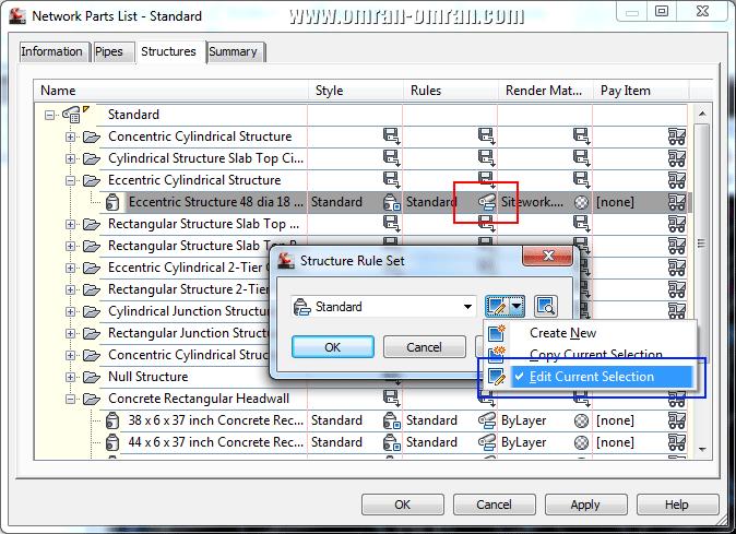 Edit Current Selection را برای ضوابط Structure Eccentric انتخاب کنید