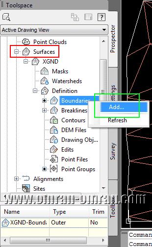 مطابق شکل از طریق Toolspace روی گزینه ی Boundry کلیک راست کنید.