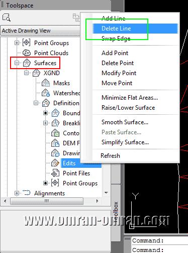 مطابق شکل از Toolspace گزینه ی Delete Line را پیدا کنید.