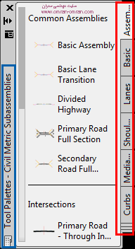 toolpalettes مرجع اشکال مختلف برای قسمت های مقاطع عرضی راه در civil3d